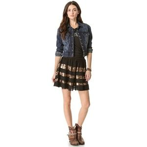 Free People Sparkle and Stripe Sequined Skirt